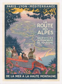 La Route des Alpes: Art Deco promotional poster for an early bus service from Nice to the French Alps by PLM (Paris-Lyon-Mediterannee Railways).