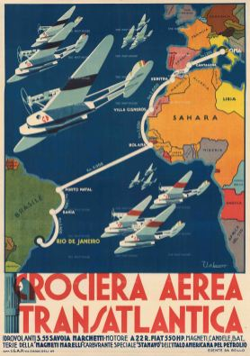 Crociera Aerea Transatlantica: Celebrating the 1930 Transatlantic Air Cruise from Rome to Rio de Janeiro of a fleet of 12 Italian seaplanes led by the head of Fascist Italy's Air Force, Italo Balbo.