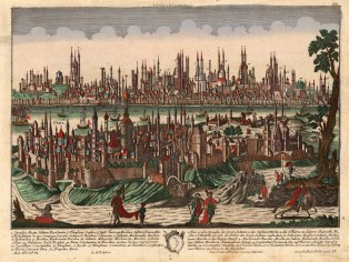 Constantinople: Panorama with key and fine original colour. With considerable detail this view emulates a 17th century tradition that combined cartographic and landscape drawing.