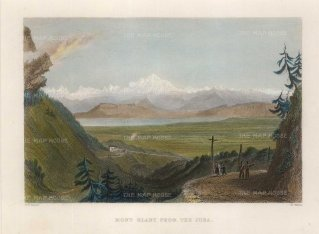 """Bartlett: Mont Blanc from the Jura. 1830. A hand coloured original antique steel engraving. 8"""" x 7"""". [FRp1426]"""