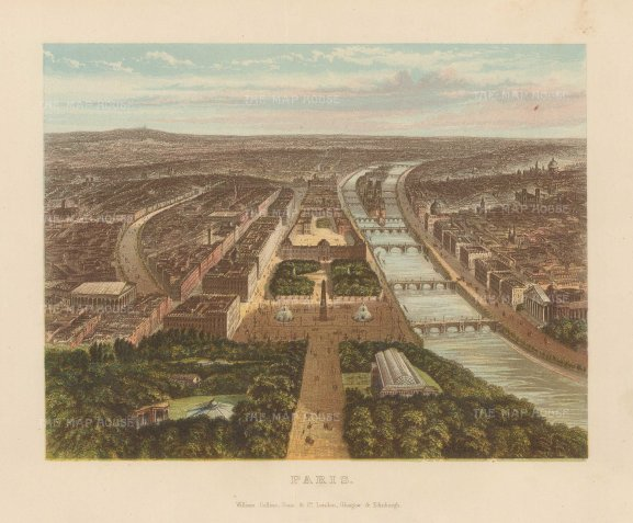 Balloon view of Paris from the Elysee Palace.