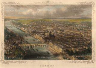 "Carse: Frankfurt. c1850. A hand coloured original antique steel engraving. 13"" x 8"". [GERp1219]"