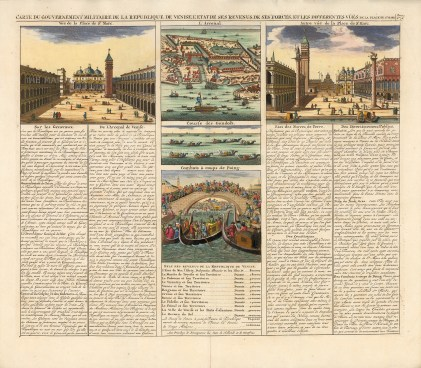 Piazzo San Marco, the Arsenal and the Lagoon with text describing elements of the city including its history and current revenue.