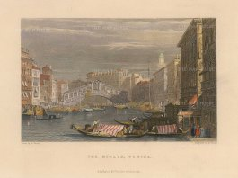 "Fullarton: Venice. 1833. A hand coloured original antique steel engraving. 6"" x 5"". [ITp2224]"