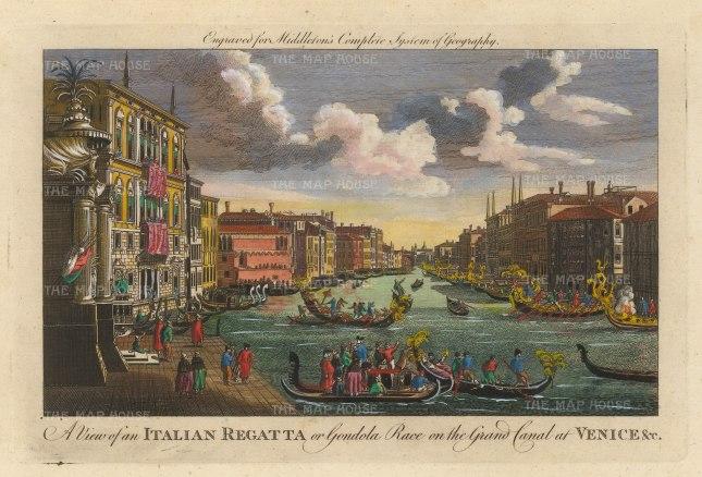"Middleton: Grand Canal, Venice. 1778. A hand coloured original antique copper engraving. 12"" x 7"". [ITp2240]"