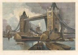 "Illustrated London News: Tower Bridge. 1894. A hand coloured original antique photolithograph. 20"" x 14"". [LDNp10292]"