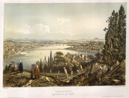 Constantinople: Bird's Eye view from the Eyub cemetery: Looking towards the Golden Horn (Halic).
