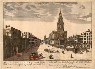 """Vue D'Optique: Somerset House. 1770. An original colour antique copper engraving. 15"""" x 11"""". [LDNp2854]"""