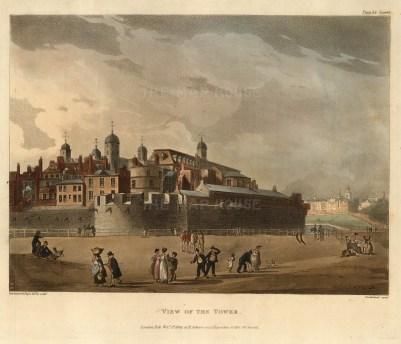 "Ackermann: Tower of London. 1809. An original colour antique aquatint. 11"" x 9"". [LDNp5125]"