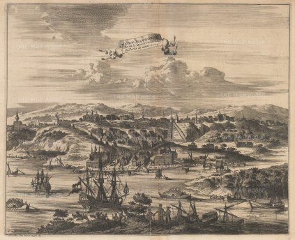Scarce panorama of the city and Oka river. After the 1647 view of Adam Olearius, secretary to the embassy of the Duke of Holstein. Engraved by Nicholas Witsen.
