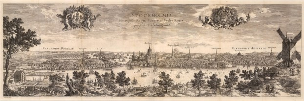 Panorama from the west with annotations. Dahlberg was the founder of the Swedish Engineer Corps who published a grand vision of Sweden at the height of its power.