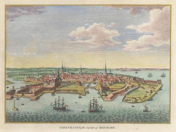 """Hogg: Copenhagen, Denmark. 1793. A hand coloured original antique copper engraving. 7"""" x 5"""". [SCANp358]"""