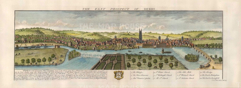 "Buck: Derby. 1728. A hand coloured original antique copper engraving. 16"" x 31"". [ENGp206}"