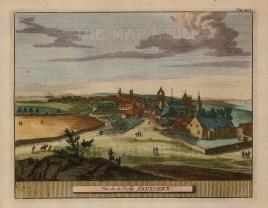 "van der Aa: Aberdeen. 1727. A hand coloured original antique copper engraving. 7"" x 5"". [SCOTp1230]"