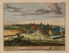 "Van der Aa: Aberdeen. 1727. A hand coloured original antique copper engraving. 7"" x 5"". [SCOTp1230]"