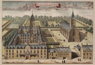 """Anonymous: College of Glasgow. 1730. A hand coloured original antique copper engraving. 17"""" x 12"""". [SCOTp1621]"""