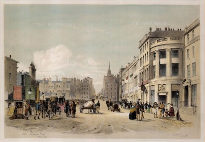 "Swarbreck: North Bridge Street, Edinburgh. 1837. A hand coloured original antique lithograph. 16"" x 12"". [SCOTp823]"
