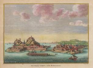 """Hogg: Corfu. 1793. A hand coloured original antique copper engraving. 8"""" x 6"""". [GRCp896]"""