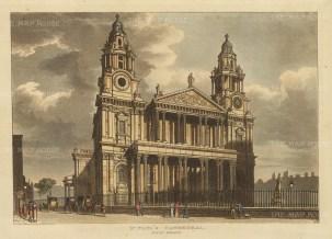 "Papworth: St Paul's Cathedral.1816. An original colour antique aquatint. 8"" x 6"". [LDNp10454]"