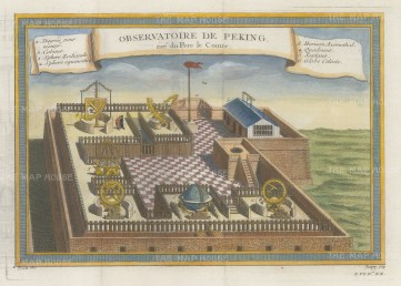 Peking Observatory. With key in French.