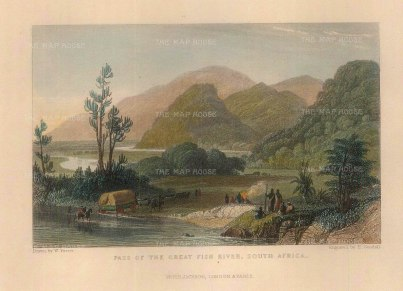 """Goodall: Great Fish River. c.1840. A hand coloured original antique steel engraving. 5"""" x 3"""". [AFRp1338]"""