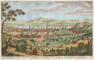 Buda (Osen). Panorama of the city with Pesth and the Danube in the distance. With key in German.