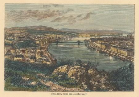 """Reclus: Budapest, Hungary. 1894. A hand coloured original antique wood engraving. 7"""" x 6"""". [CEUp518]"""