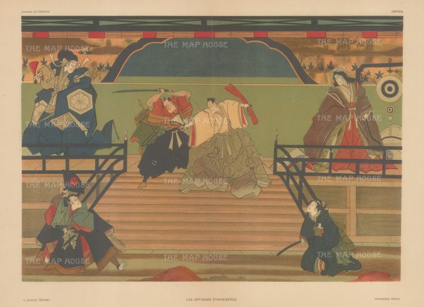 Ukiyo-e advertisement for Kubuki Theatre. Samurai and Priests.