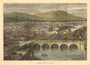 "Brown: Belfast. 1885. A hand coloured original antique wood engraving. 8"" x 6"". [IREp679]"