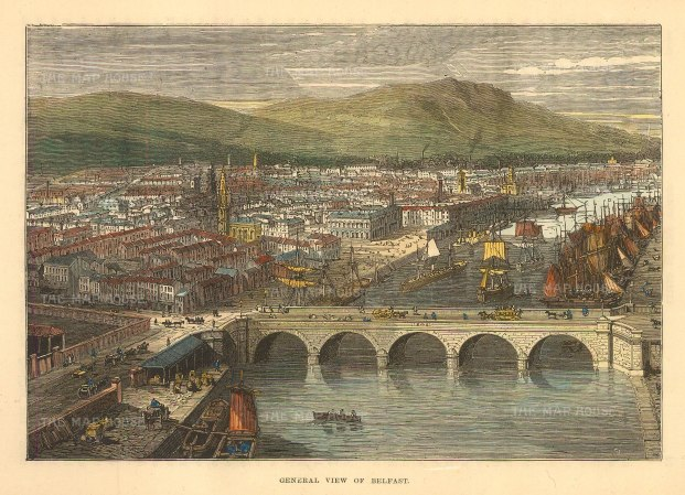 "Brown: Belfast. 1885. A hand coloured original antique wood engraving. 8"" x 6"". [IREp679]"
