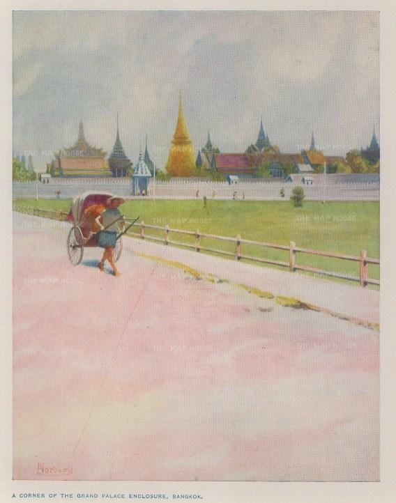 "Norbury: Bangkok. c1913. An original antique chromolithograph. 4"" x 5"". [SEASp1571]"