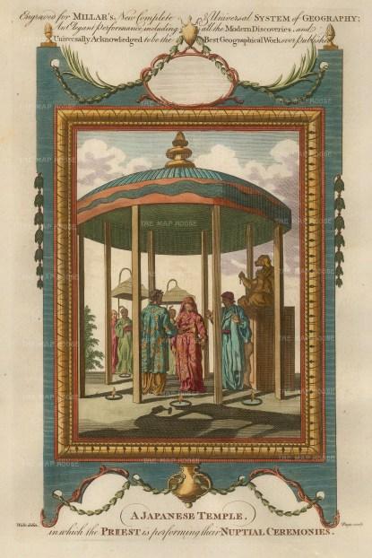 "Millar: Japanese wedding. 1770. A hand coloured original antique copper engraving. 7"" x 11"". [SEASp728]"