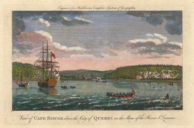 "Middleton: Cape Rouge, Quebec.1778. A hand coloured original antique copper engraving. 12"" x 7"". [CANp647]"