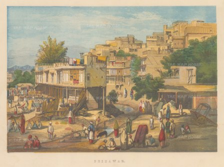 Peshawar. View of the market and terraced houses.