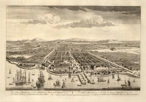Java: Batavia (Jakarta). Bird's eye view from the Bay of Jakarta over the Dutch settlement.