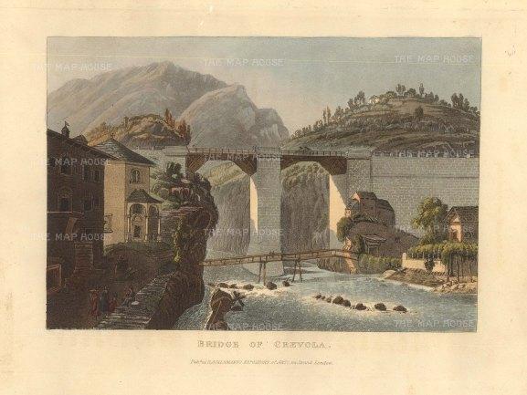 "Ackermann: Crevola, Switzerland. 1820. An original colour antique aquatint. 6"" x 5"". [SWIp774]"