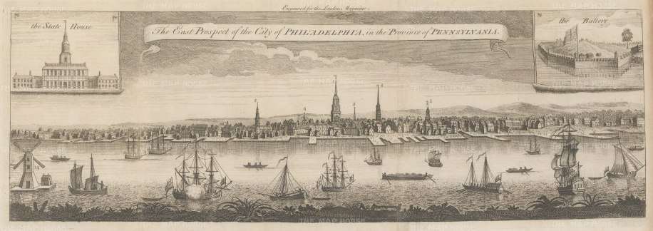 SOLD. Philadelphia: Rare Colonial Panorama from present day South Street to Chestnut Street with vignettes of the Battery and the State house (Independence Hall). After Thomas Jeffry's modification of George Heap's 1754 4 sheet engraving commissioned by Thomas Penn.