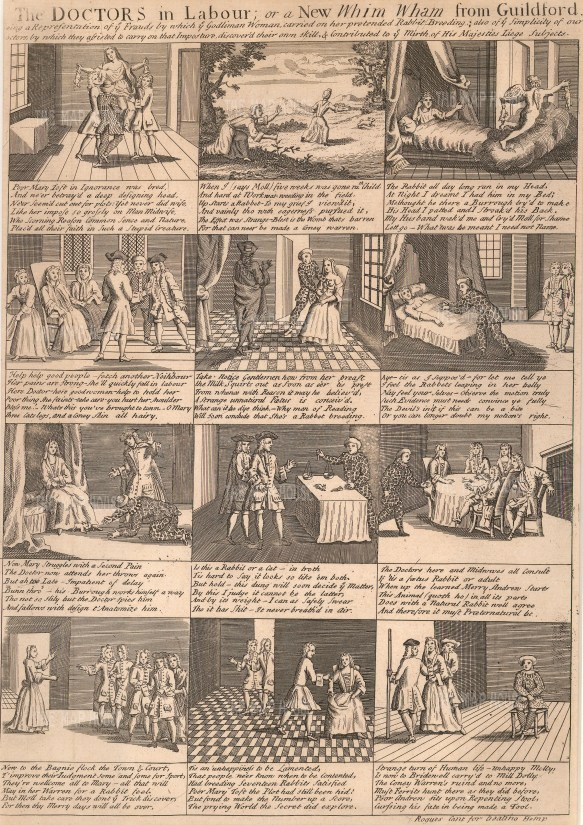 Satire of the celebrated case of Mary Toft, who convinced several eminent physicians she had given birth to rabbits.