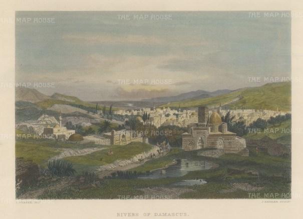 "Wilson: Damascus.1886. A hand coloured original antique steel engraving. 10"" x 6"". [MEASTp1213]"