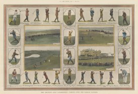 Amateur Golf Championship: Four views of the links at Prestwick, Holylake, Sandwich and St Andrew's surrounded by twelve framed and sixteen unframed portraits of famous players.