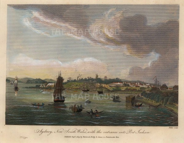 Port Jackson (Sydney): Panorama of the entrance after Charles Leseur, artist on Baudin and Perron's Australia expedition 1801-3.