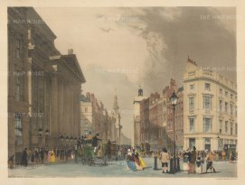 Mansion House and Cheapside with St Mildred, Poultry and St Mary-le-Bone in the background.