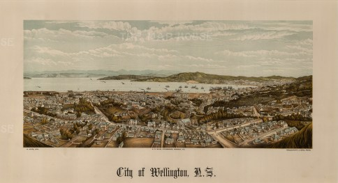 Wellington. Panoramic view over the city towards the harbour. Edward Wakefield's New Zealand Land Company established numerous settlements that became principal towns.