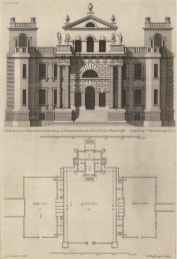 Seaton Delaval, Northumberland: Plan and elevation of one the North's great Halls designed by Sir John Vanbrugh.