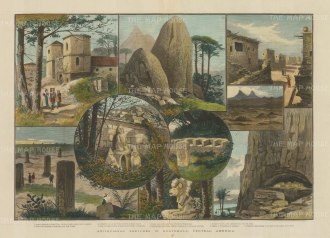 Antiquarian Sketches: Nine views of prehistoric sites and the first catholic church, Ciudad Vieja.