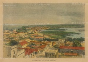 """Reclus: Ciudad Bolivar (Angostura), Venezuela. 1894. A hand coloured original antique wood engraving. 8"""" x 5"""". [SAMp1022]"""