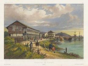 "Vaillant: Guayaquil, Ecuador. c.1850. A hand coloured original antique lithograph. 13"" x 10"". [SAMp1235]"