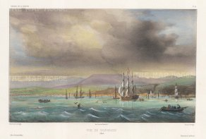 Chile: View from the sea of the Port of Valparaiso. After Barthelemy Lauvergne, artist on the voyage of La Bonite 1836-7.