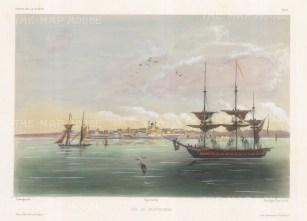 "Capt. Vaillant: Montevideo, Uruguay. c1850. A hand coloured original antique lithograph. 15"" x 10"". [SAMp1289]"