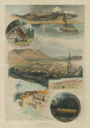 Venezuela: Caracas. Panorama of Caracas, view of Angostura and four vignettes of Venezuelan life.